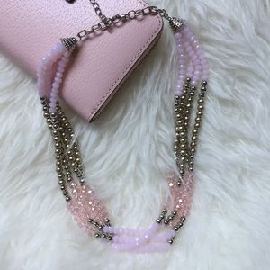 Pink and Silver Beaded Statement Necklace